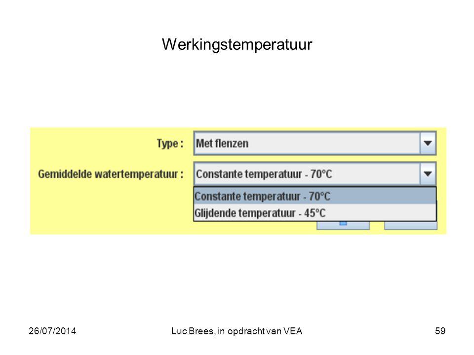 26/07/2014Luc Brees, in opdracht van VEA59 Werkingstemperatuur