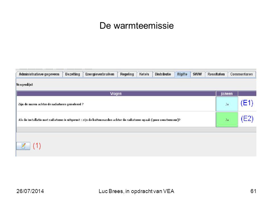 26/07/2014Luc Brees, in opdracht van VEA61 De warmteemissie