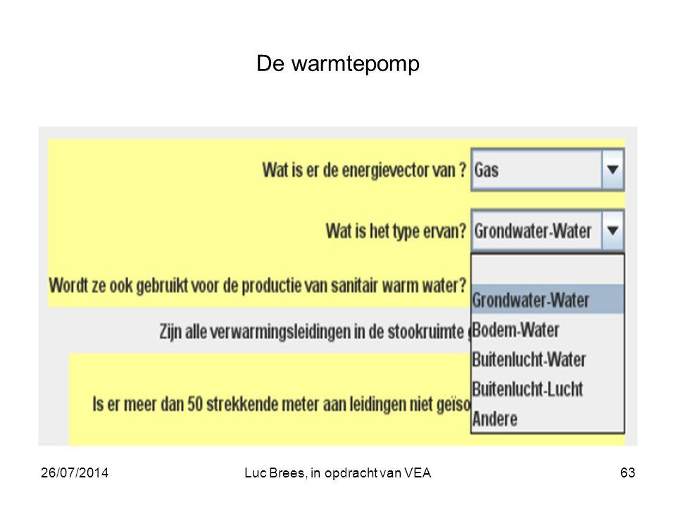 26/07/2014Luc Brees, in opdracht van VEA63 De warmtepomp