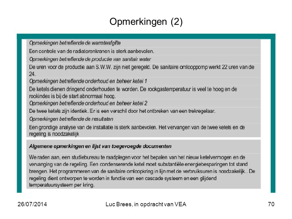26/07/2014Luc Brees, in opdracht van VEA70 Opmerkingen (2)