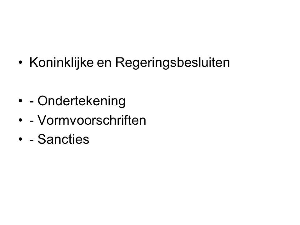 Koninklijke en Regeringsbesluiten - Ondertekening - Vormvoorschriften - Sancties