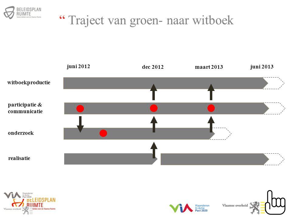 witboekproductie participatie & communicatie onderzoek realisatie juni 2012 juni 2013 dec 2012maart 2013 Traject van groen- naar witboek