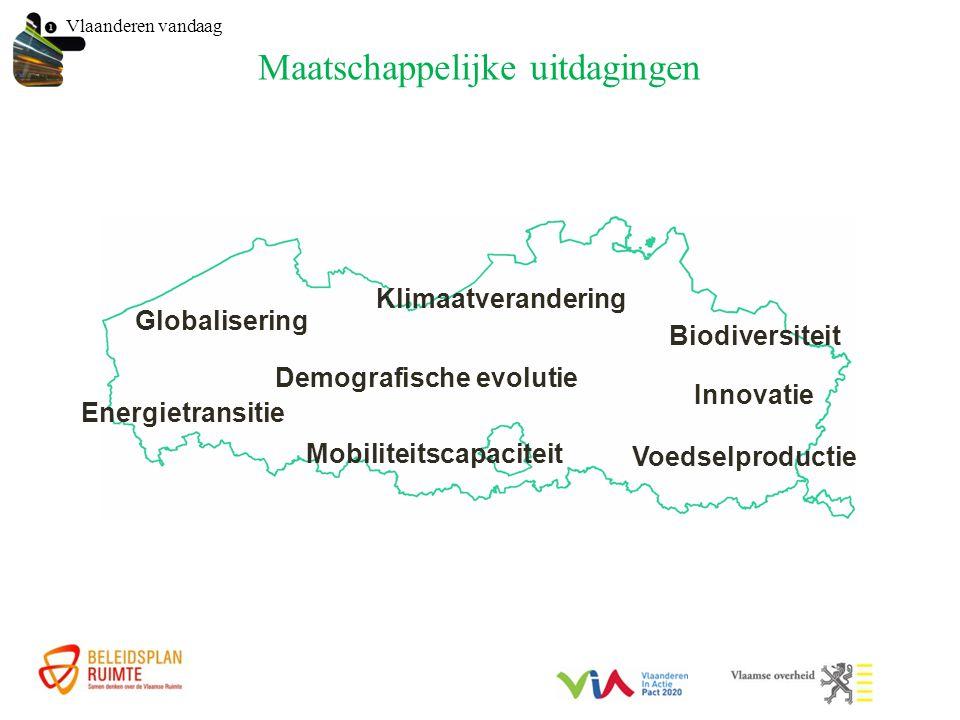 Maatschappelijke uitdagingen Vlaanderen vandaag Globalisering Demografische evolutie Klimaatverandering Energietransitie Mobiliteitscapaciteit Innovatie Biodiversiteit Voedselproductie