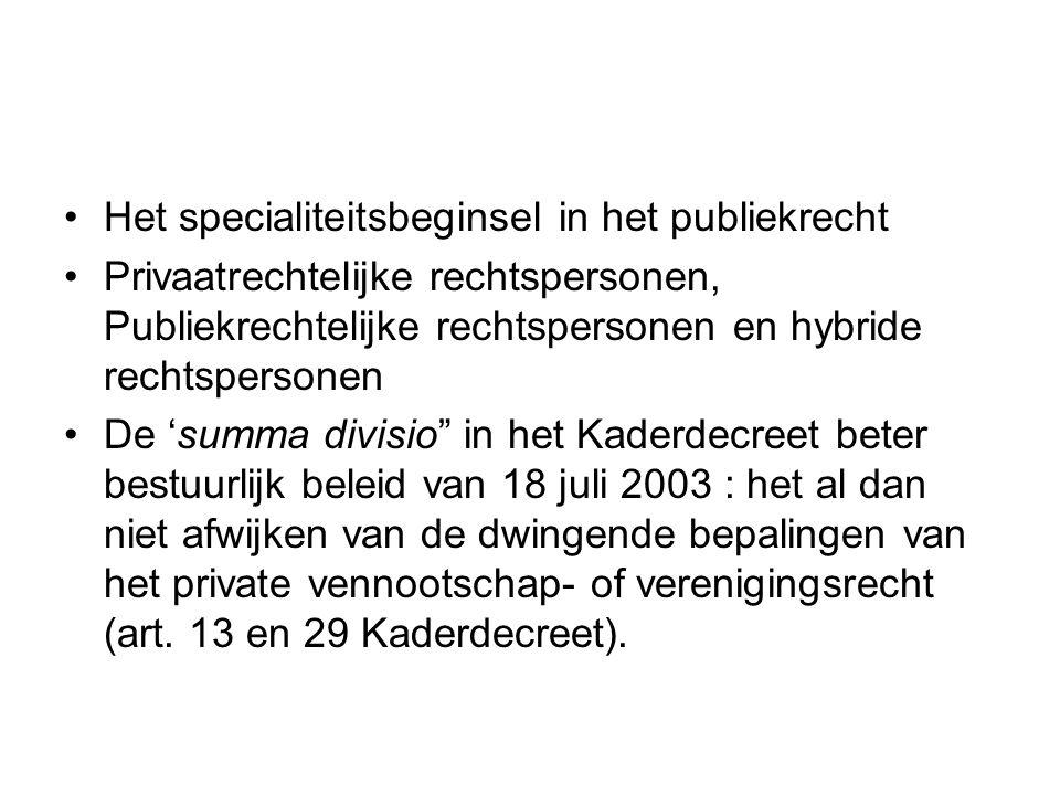 Het specialiteitsbeginsel in het publiekrecht Privaatrechtelijke rechtspersonen, Publiekrechtelijke rechtspersonen en hybride rechtspersonen De 'summa