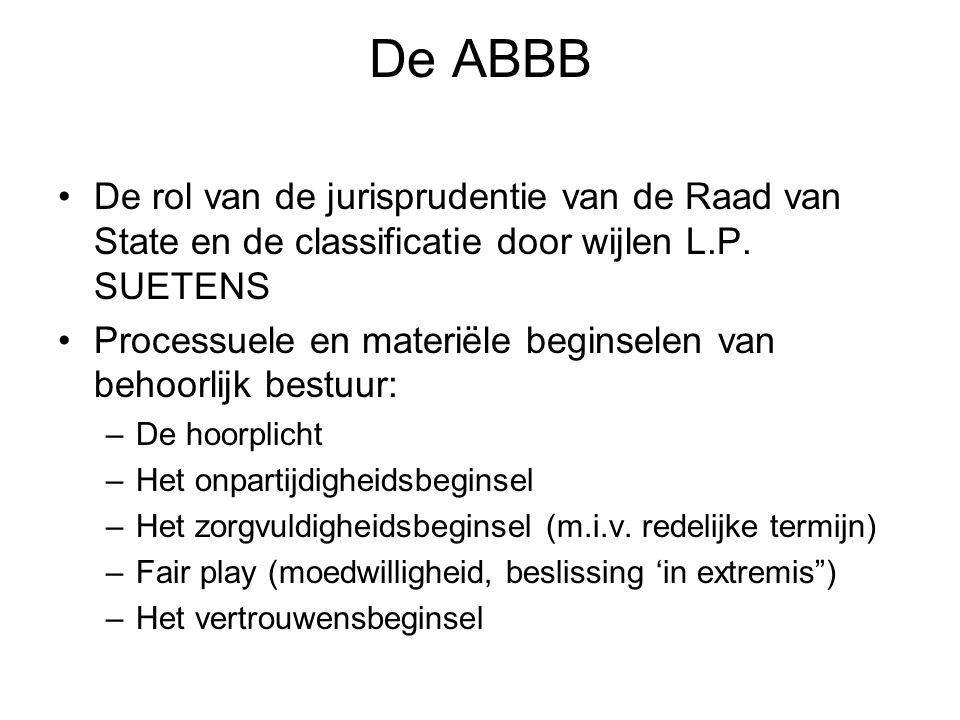 De ABBB De rol van de jurisprudentie van de Raad van State en de classificatie door wijlen L.P. SUETENS Processuele en materiële beginselen van behoor