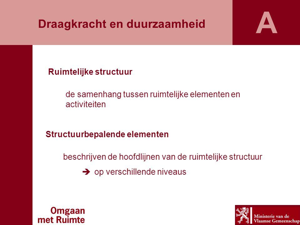 Ruimtelijke structuur de samenhang tussen ruimtelijke elementen en activiteiten Structuurbepalende elementen beschrijven de hoofdlijnen van de ruimtelijke structuur  op verschillende niveaus Draagkracht en duurzaamheid A