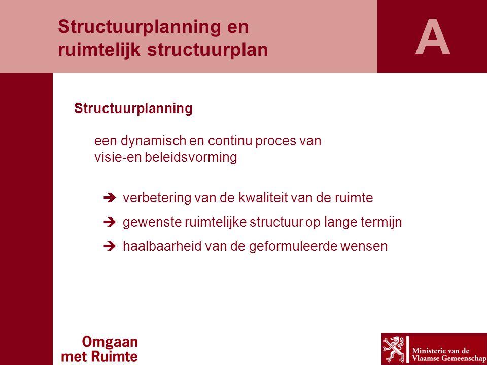 Structuurplanning een dynamisch en continu proces van visie-en beleidsvorming  verbetering van de kwaliteit van de ruimte  gewenste ruimtelijke structuur op lange termijn  haalbaarheid van de geformuleerde wensen Structuurplanning en ruimtelijk structuurplan A