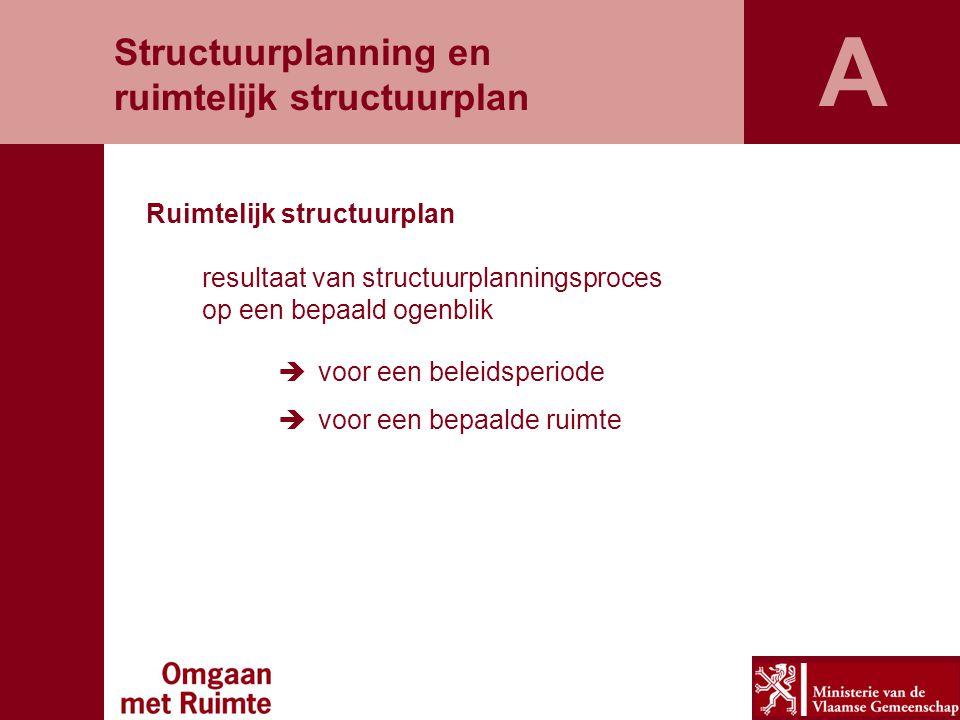 Ruimtelijk structuurplan resultaat van structuurplanningsproces op een bepaald ogenblik  voor een beleidsperiode  voor een bepaalde ruimte Structuurplanning en ruimtelijk structuurplan A