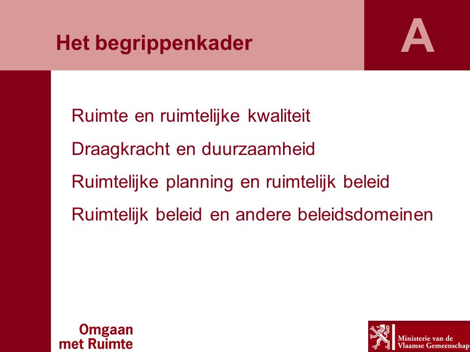 Ruimte en ruimtelijke kwaliteit Draagkracht en duurzaamheid Ruimtelijke planning en ruimtelijk beleid Ruimtelijk beleid en andere beleidsdomeinen A