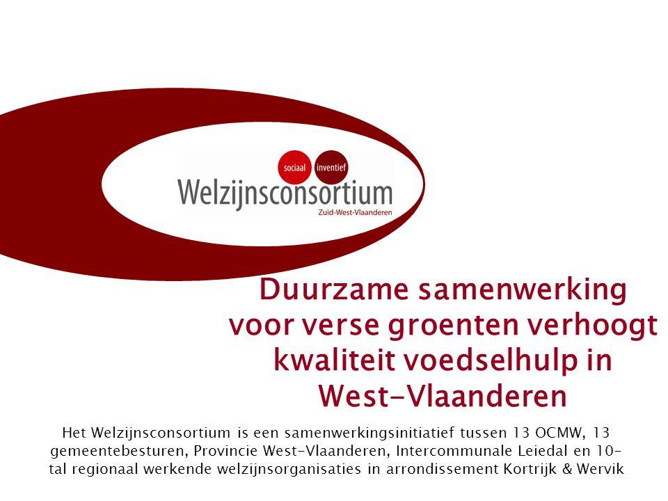 Duurzame samenwerking voor verse groenten verhoogt kwaliteit voedselhulp in West-Vlaanderen Het Welzijnsconsortium is een samenwerkingsinitiatief tussen 13 OCMW, 13 gemeentebesturen, Provincie West-Vlaanderen, Intercommunale Leiedal en 10- tal regionaal werkende welzijnsorganisaties in arrondissement Kortrijk & Wervik
