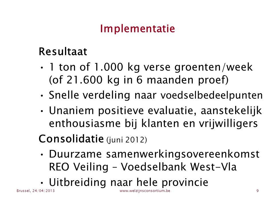 Brussel, 24/04/2013www.welzijnsconsortium.be9 Implementatie Resultaat 1 ton of 1.000 kg verse groenten/week (of 21.600 kg in 6 maanden proef) Snelle verdeling naar voedselbedeelpunten Unaniem positieve evaluatie, aanstekelijk enthousiasme bij klanten en vrijwilligers Consolidatie (juni 2012) Duurzame samenwerkingsovereenkomst REO Veiling – Voedselbank West-Vla Uitbreiding naar hele provincie