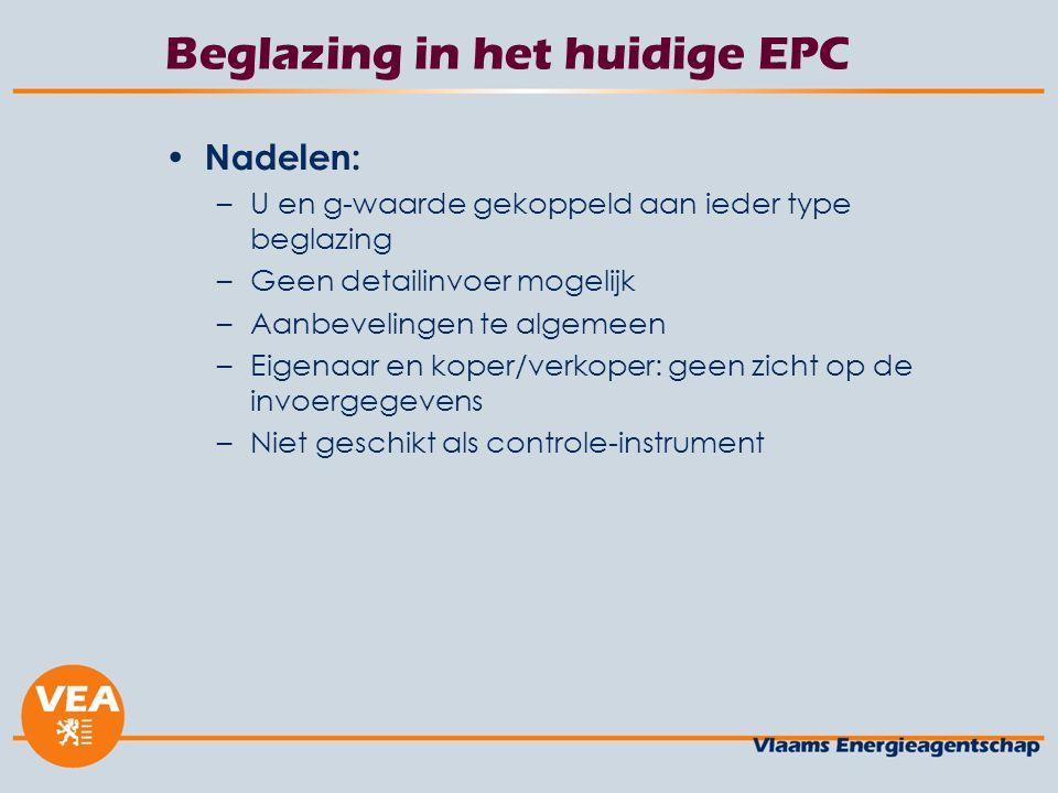 Beglazing in het huidige EPC Nadelen: –U en g-waarde gekoppeld aan ieder type beglazing –Geen detailinvoer mogelijk –Aanbevelingen te algemeen –Eigenaar en koper/verkoper: geen zicht op de invoergegevens –Niet geschikt als controle-instrument