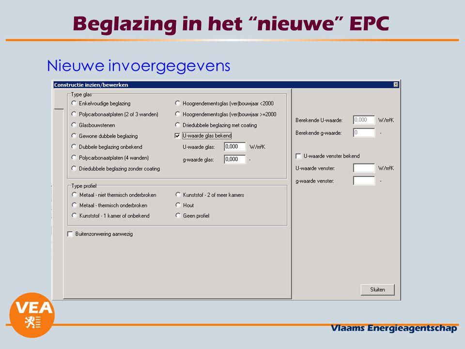 """Beglazing in het """"nieuwe"""" EPC Nieuwe invoergegevens"""