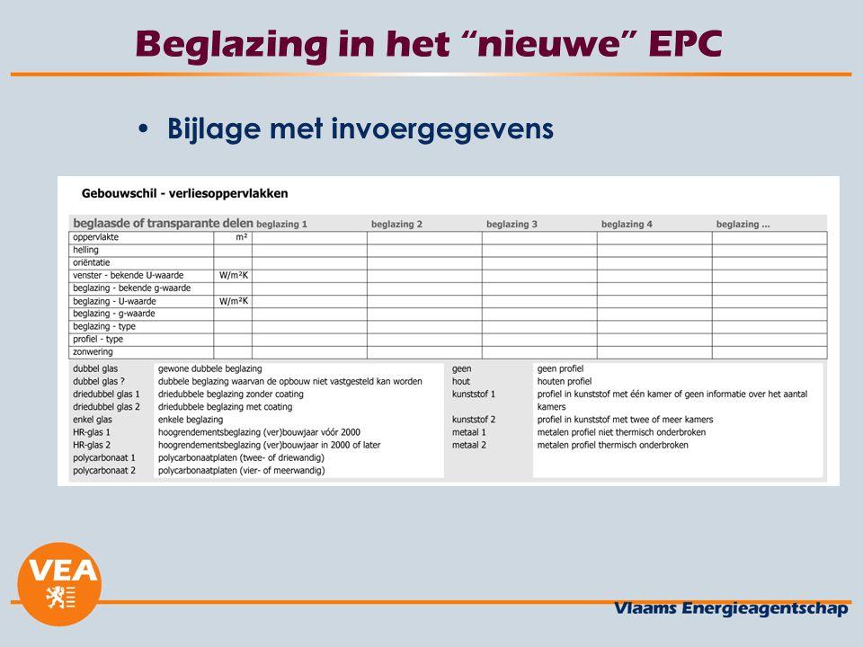 """Beglazing in het """"nieuwe"""" EPC Bijlage met invoergegevens"""