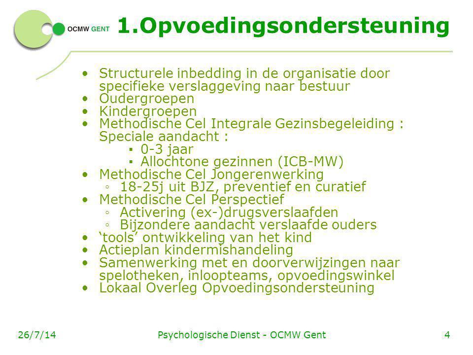Psychologische Dienst - OCMW Gent426/7/14 1.Opvoedingsondersteuning Structurele inbedding in de organisatie door specifieke verslaggeving naar bestuur