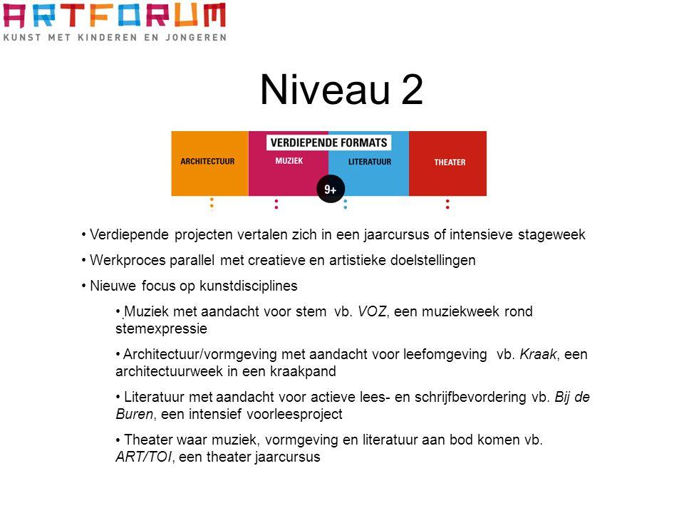 Niveau 2. Verdiepende projecten vertalen zich in een jaarcursus of intensieve stageweek Werkproces parallel met creatieve en artistieke doelstellingen