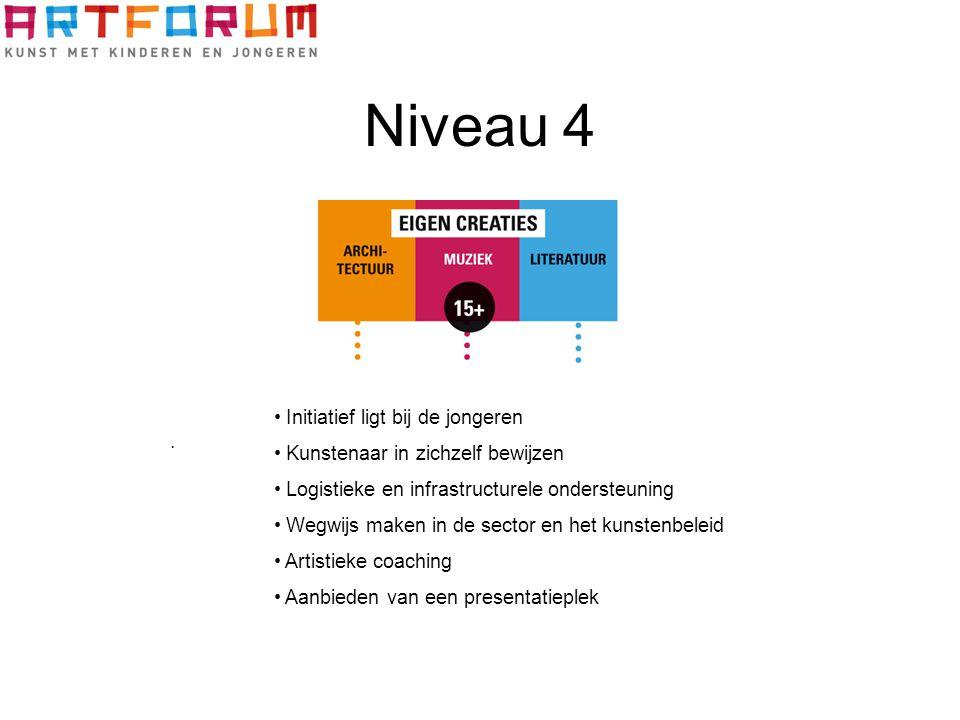 Niveau 4. Initiatief ligt bij de jongeren Kunstenaar in zichzelf bewijzen Logistieke en infrastructurele ondersteuning Wegwijs maken in de sector en h
