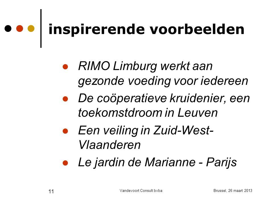 Brussel, 26 maart 2013Vandevoort Consult bvba 11 inspirerende voorbeelden RIMO Limburg werkt aan gezonde voeding voor iedereen De coöperatieve kruidenier, een toekomstdroom in Leuven Een veiling in Zuid-West- Vlaanderen Le jardin de Marianne - Parijs