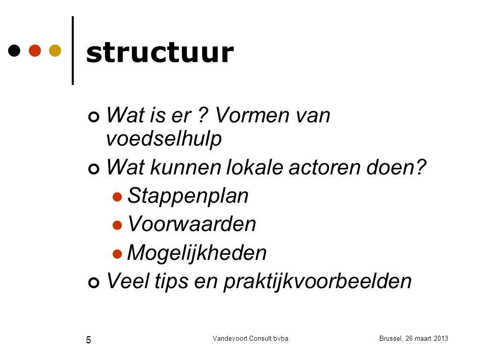 Brussel, 26 maart 2013Vandevoort Consult bvba 5 structuur Wat is er .