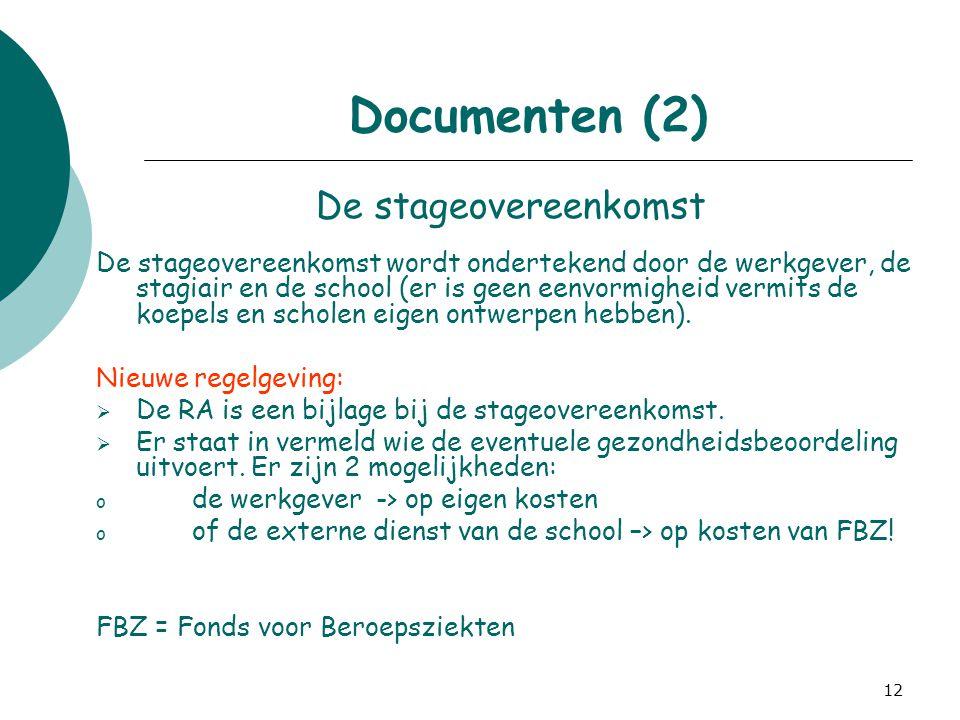 12 Documenten (2) De stageovereenkomst De stageovereenkomst wordt ondertekend door de werkgever, de stagiair en de school (er is geen eenvormigheid ve