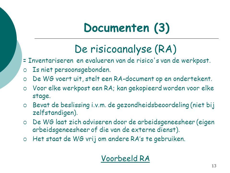 13 Documenten (3) De risicoanalyse (RA) = Inventariseren en evalueren van de risico's van de werkpost.  Is niet persoonsgebonden.  De WG voert uit,