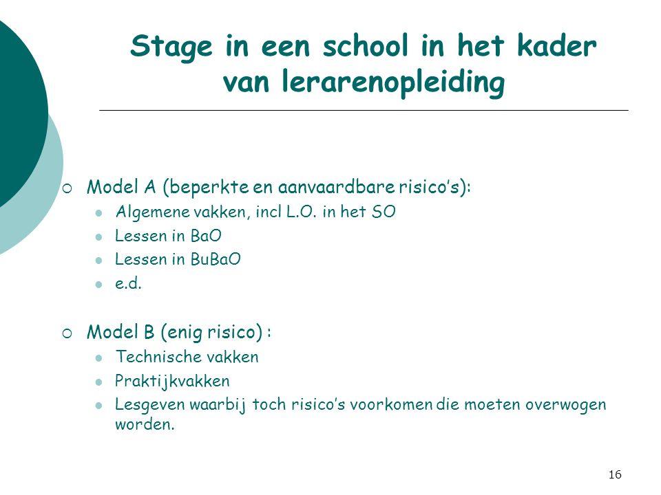 16 Stage in een school in het kader van lerarenopleiding  Model A (beperkte en aanvaardbare risico's): Algemene vakken, incl L.O. in het SO Lessen in