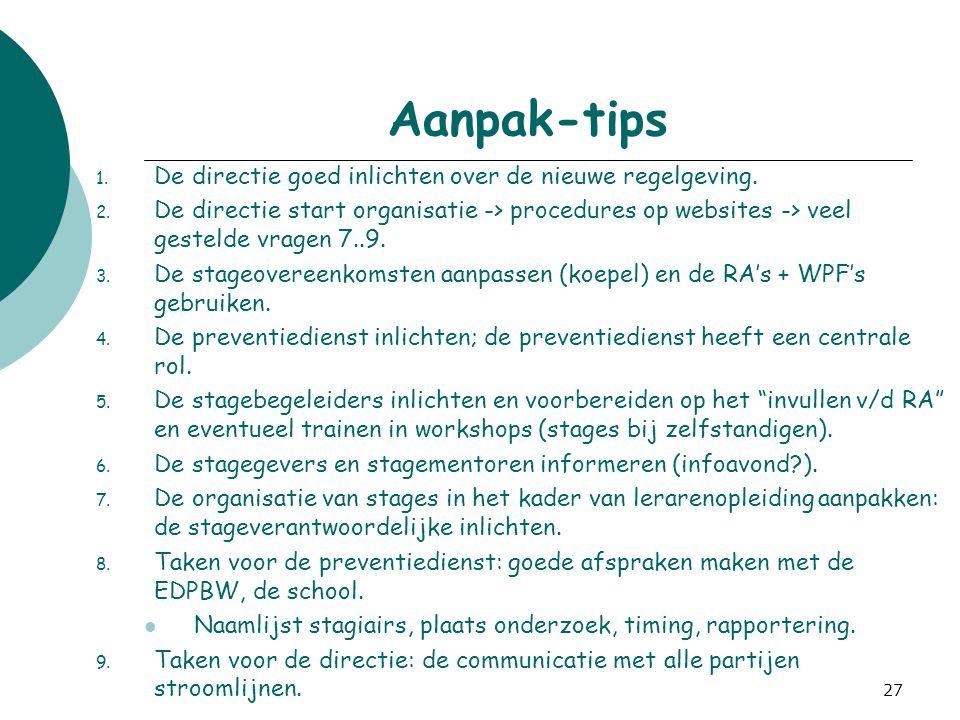 27 Aanpak-tips 1. De directie goed inlichten over de nieuwe regelgeving. 2. De directie start organisatie -> procedures op websites -> veel gestelde v