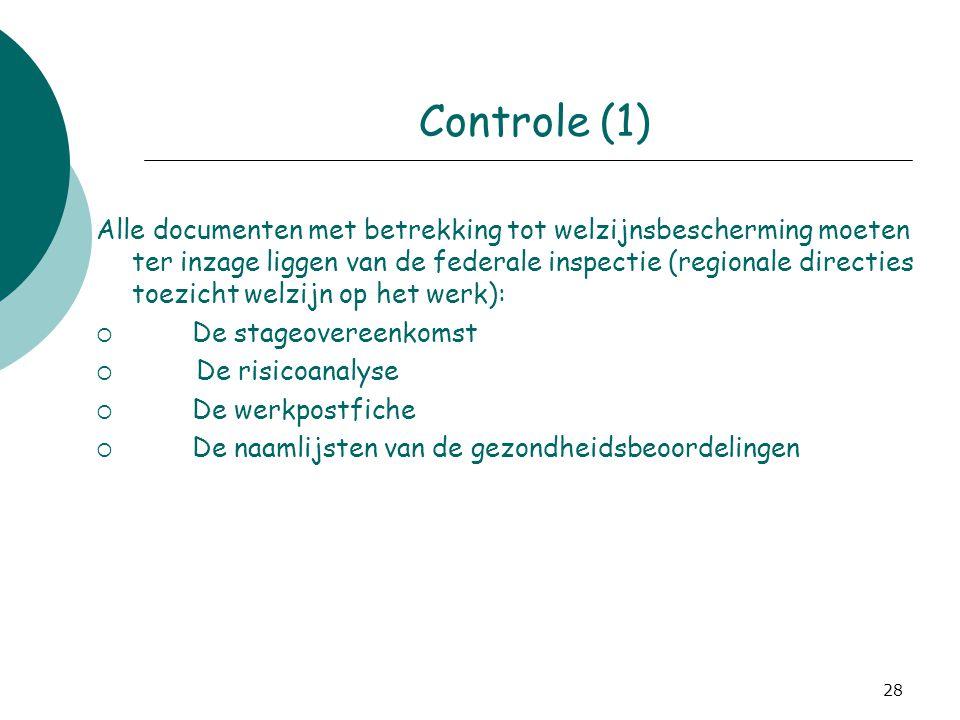 28 Controle (1) Alle documenten met betrekking tot welzijnsbescherming moeten ter inzage liggen van de federale inspectie (regionale directies toezich