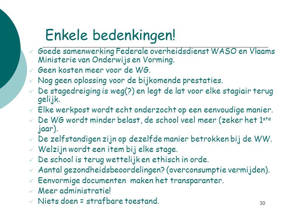 30 Enkele bedenkingen! Goede samenwerking Federale overheidsdienst WASO en Vlaams Ministerie van Onderwijs en Vorming. Geen kosten meer voor de WG. No