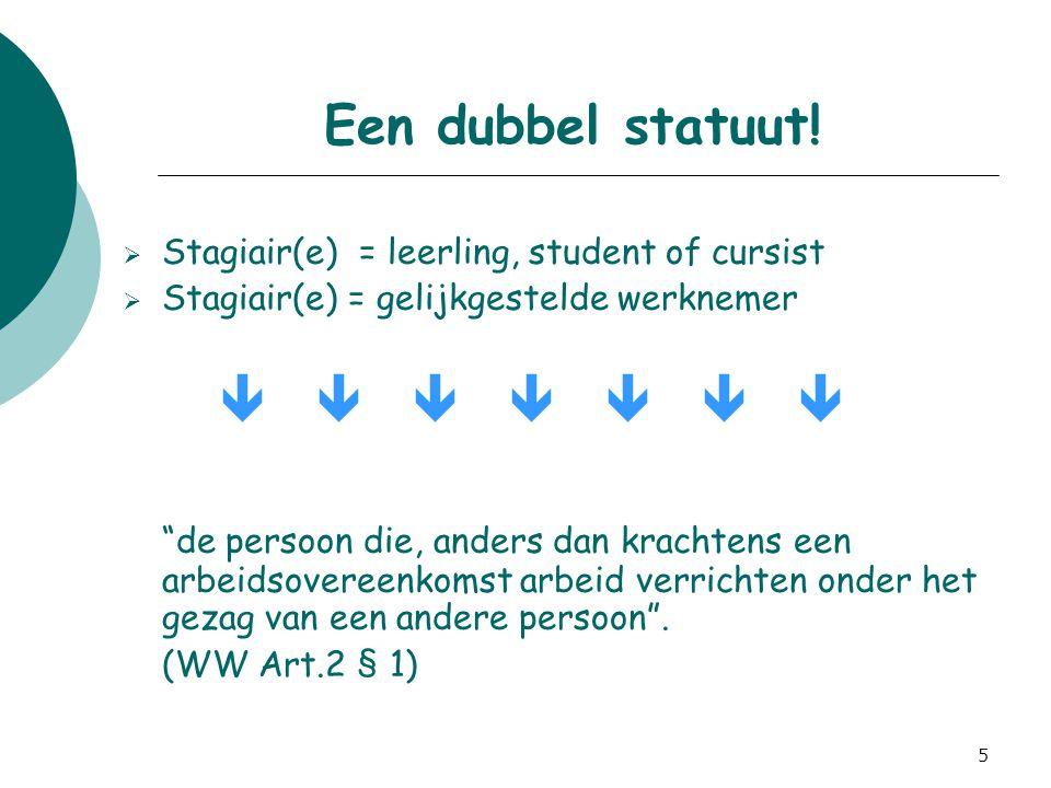 "5 Een dubbel statuut!  Stagiair(e) = leerling, student of cursist  Stagiair(e) = gelijkgestelde werknemer        ""de persoon die, anders dan"