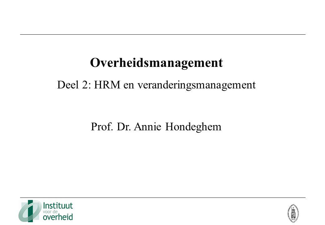 Overheidsmanagement Deel 2: HRM en veranderingsmanagement Prof. Dr. Annie Hondeghem