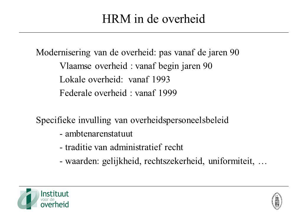 HRM in de overheid Modernisering van de overheid: pas vanaf de jaren 90 Vlaamse overheid : vanaf begin jaren 90 Lokale overheid: vanaf 1993 Federale o
