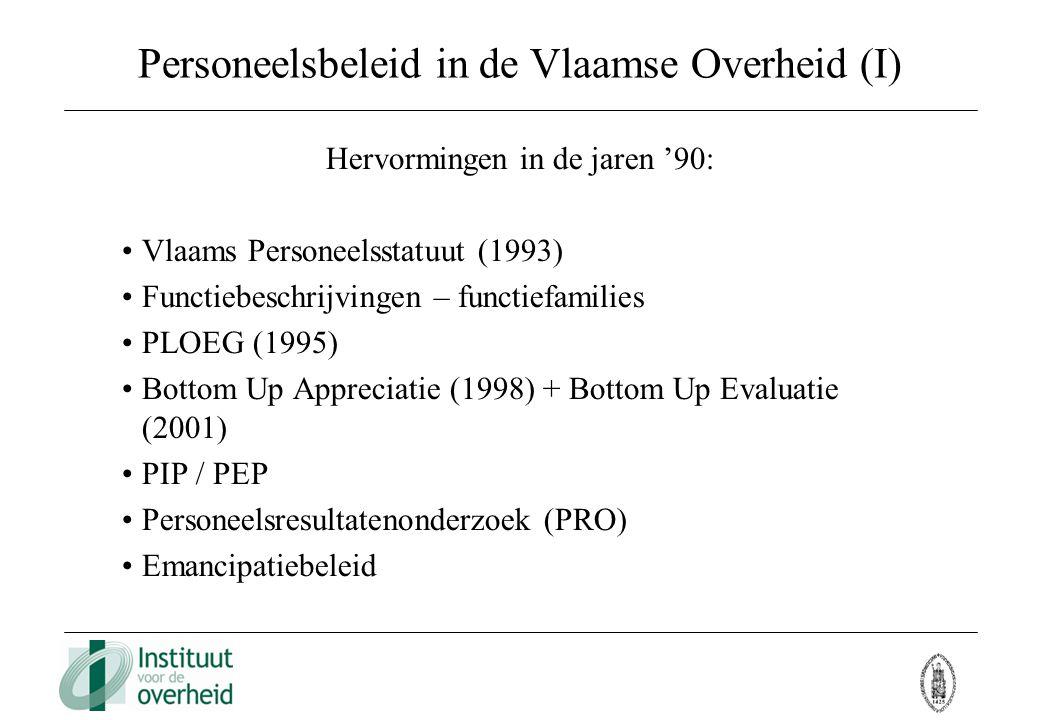 Personeelsbeleid in de Vlaamse Overheid (I) Hervormingen in de jaren '90: Vlaams Personeelsstatuut (1993) Functiebeschrijvingen – functiefamilies PLOE