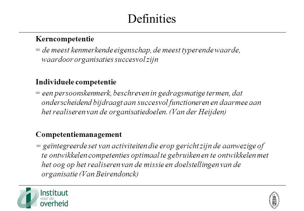 Definities Kerncompetentie = de meest kenmerkende eigenschap, de meest typerende waarde, waardoor organisaties succesvol zijn Individuele competentie