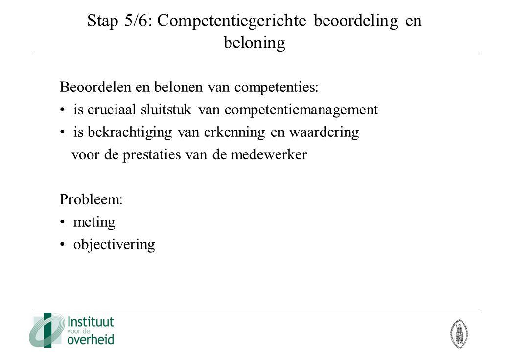 Stap 5/6: Competentiegerichte beoordeling en beloning Beoordelen en belonen van competenties: is cruciaal sluitstuk van competentiemanagement is bekra