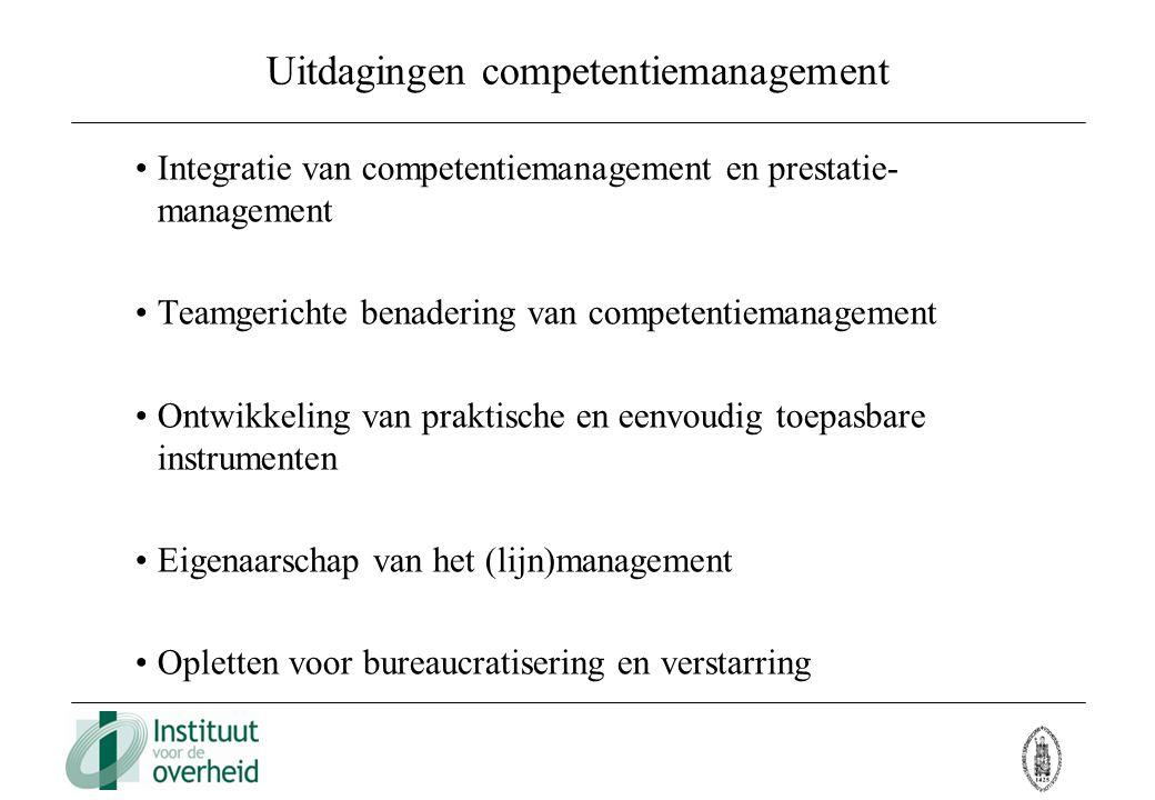 Uitdagingen competentiemanagement Integratie van competentiemanagement en prestatie- management Teamgerichte benadering van competentiemanagement Ontw