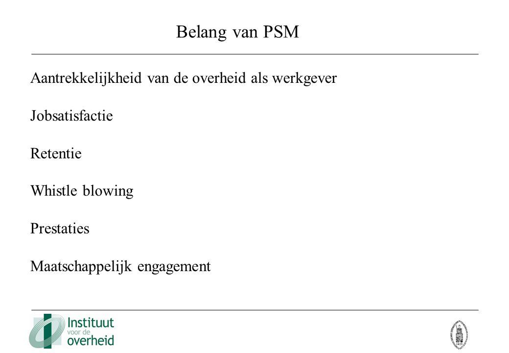 Belang van PSM Aantrekkelijkheid van de overheid als werkgever Jobsatisfactie Retentie Whistle blowing Prestaties Maatschappelijk engagement
