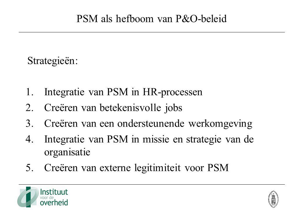 PSM als hefboom van P&O-beleid Strategieën: 1.Integratie van PSM in HR-processen 2.Creëren van betekenisvolle jobs 3.Creëren van een ondersteunende we