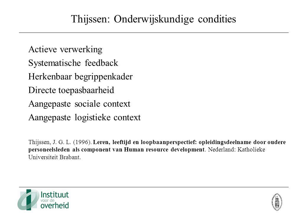 Thijssen: Onderwijskundige condities Actieve verwerking Systematische feedback Herkenbaar begrippenkader Directe toepasbaarheid Aangepaste sociale con