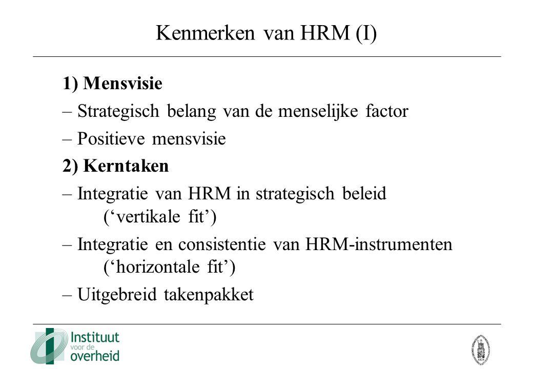 Kenmerken van HRM (I) 1) Mensvisie – Strategisch belang van de menselijke factor – Positieve mensvisie 2) Kerntaken – Integratie van HRM in strategisc