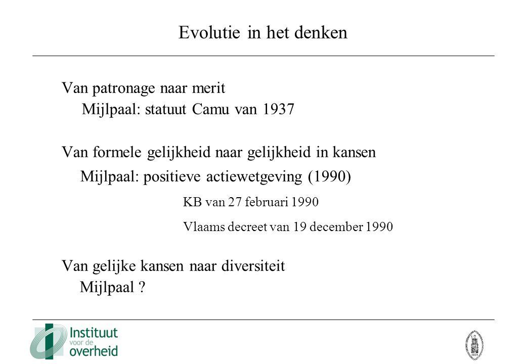 Evolutie in het denken Van patronage naar merit Mijlpaal: statuut Camu van 1937 Van formele gelijkheid naar gelijkheid in kansen Mijlpaal: positieve a