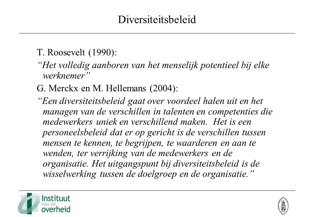 """Diversiteitsbeleid T. Roosevelt (1990): """"Het volledig aanboren van het menselijk potentieel bij elke werknemer"""" G. Merckx en M. Hellemans (2004): """"Een"""