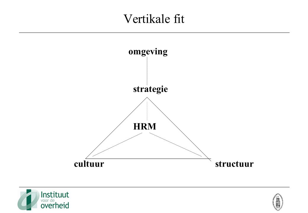 Vertikale fit omgeving strategie HRM cultuur structuur