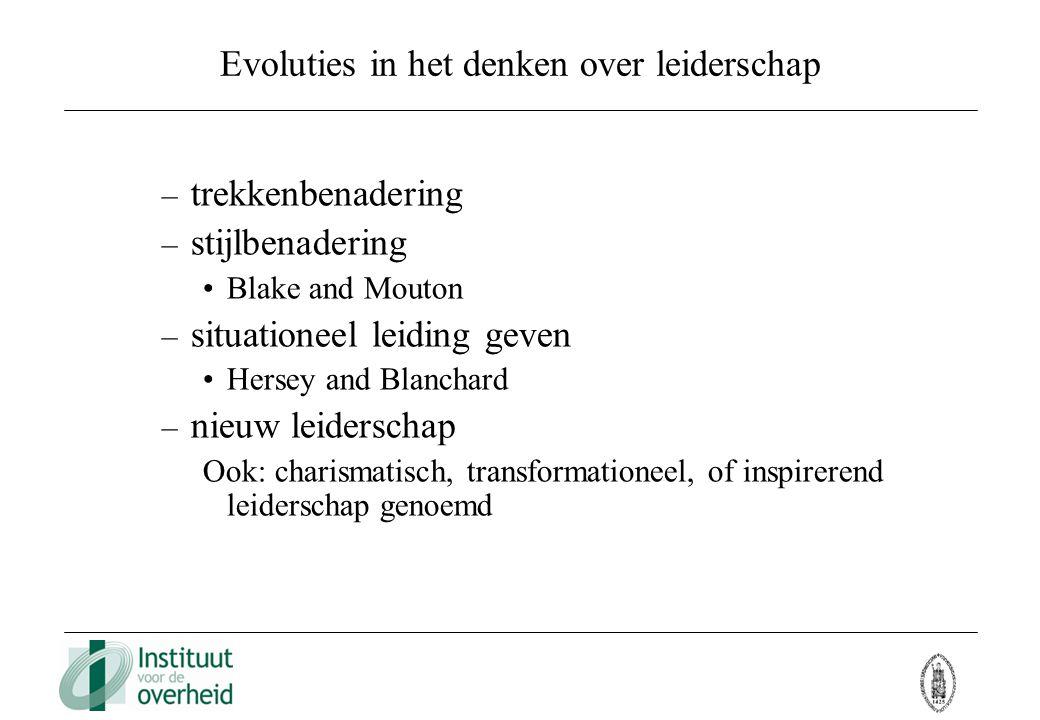 Evoluties in het denken over leiderschap – trekkenbenadering – stijlbenadering Blake and Mouton – situationeel leiding geven Hersey and Blanchard – ni
