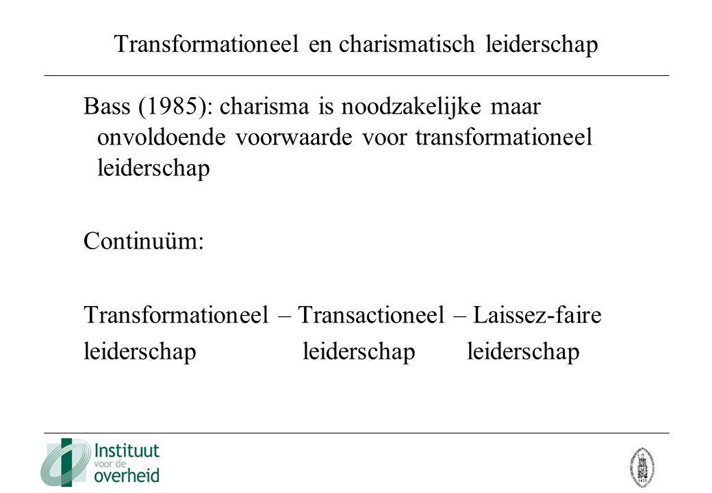 Transformationeel en charismatisch leiderschap Bass (1985): charisma is noodzakelijke maar onvoldoende voorwaarde voor transformationeel leiderschap C