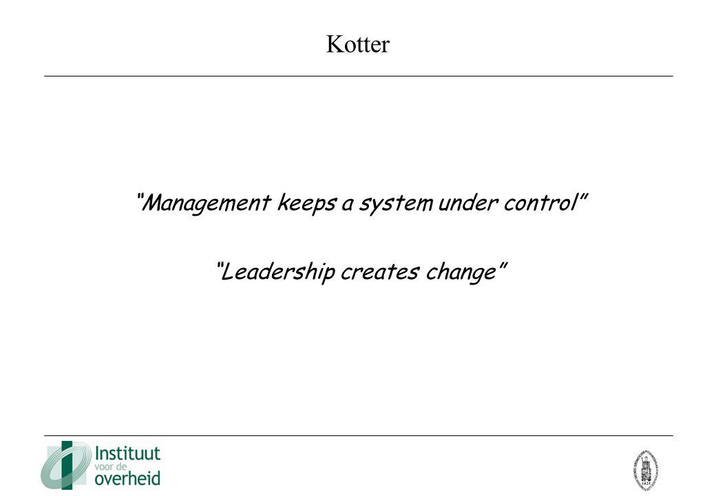 """Kotter """"Management keeps a system under control"""" """"Leadership creates change"""""""