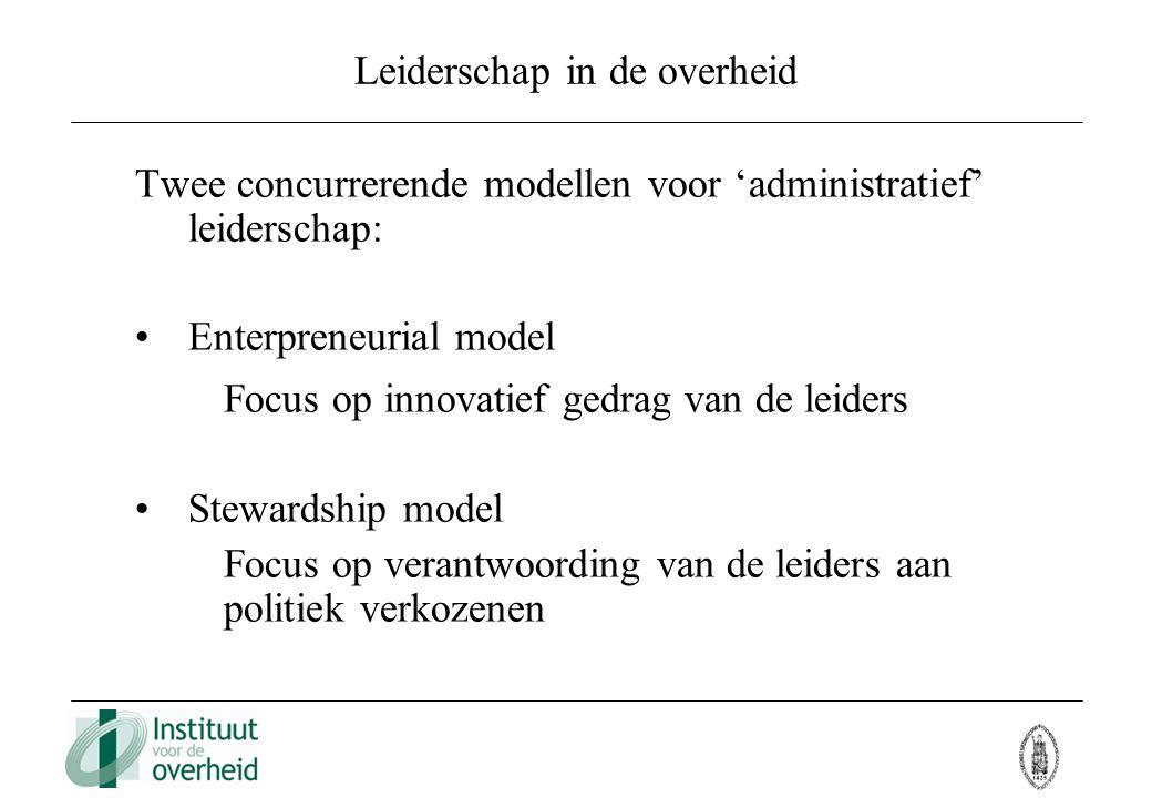Leiderschap in de overheid Twee concurrerende modellen voor 'administratief' leiderschap: Enterpreneurial model Focus op innovatief gedrag van de leid