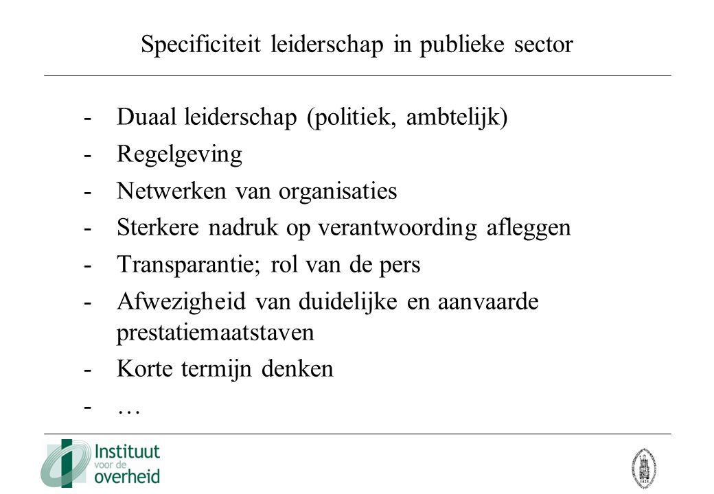 Specificiteit leiderschap in publieke sector -Duaal leiderschap (politiek, ambtelijk) -Regelgeving -Netwerken van organisaties -Sterkere nadruk op ver