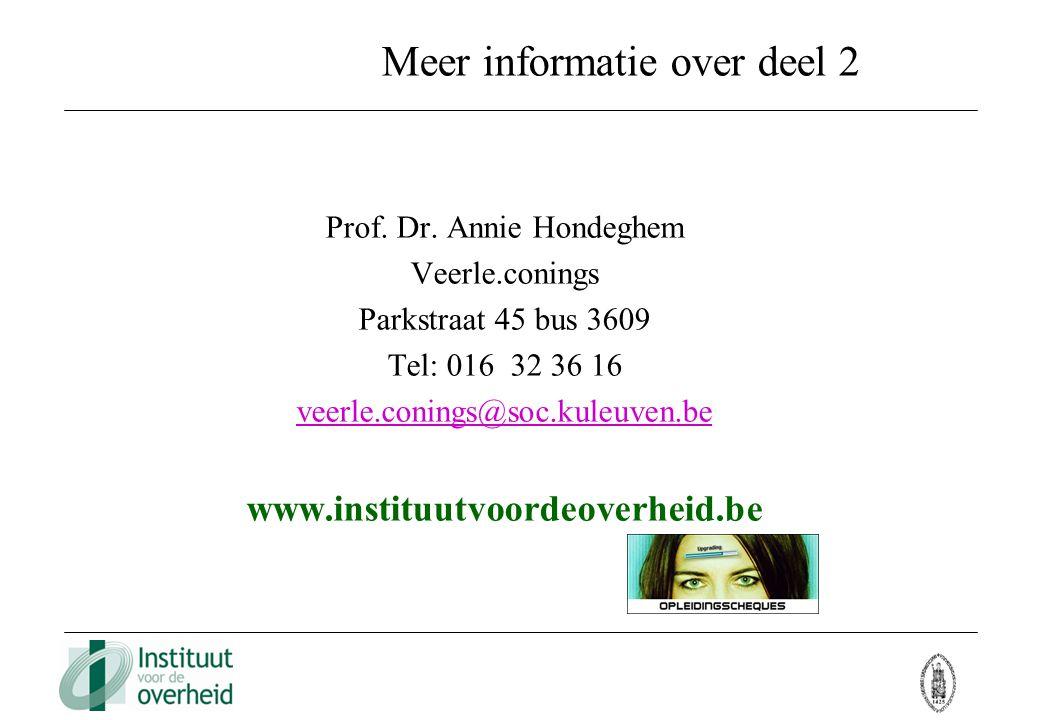 Meer informatie over deel 2 Prof. Dr. Annie Hondeghem Veerle.conings Parkstraat 45 bus 3609 Tel: 016 32 36 16 veerle.conings@soc.kuleuven.be www.insti