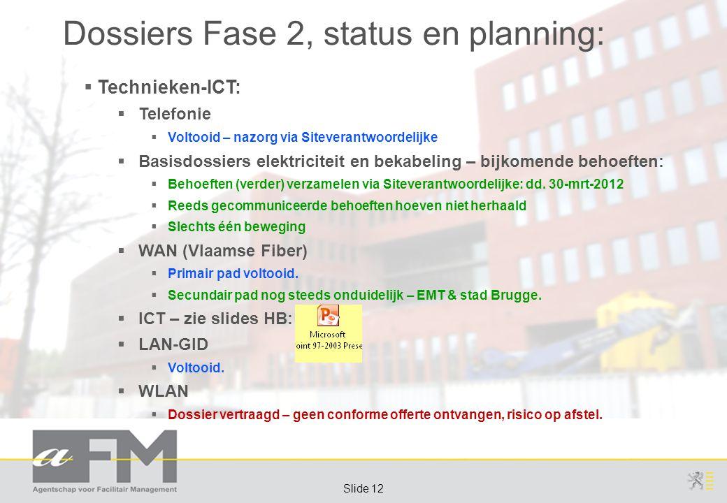 Page 12 Slide 12 Dossiers Fase 2, status en planning:  Technieken-ICT:  Telefonie  Voltooid – nazorg via Siteverantwoordelijke  Basisdossiers elektriciteit en bekabeling – bijkomende behoeften:  Behoeften (verder) verzamelen via Siteverantwoordelijke: dd.